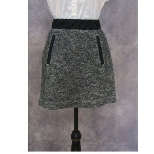 NWOT LOFT Wool Blend Marled Black Skirt Size S